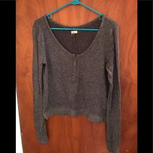 Gray laced bottom sweater